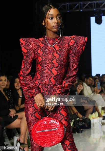 Models walk the runway during the third night of the 2021 Los Angeles Fashion Week on October 09, 2021 in Los Angeles, California.