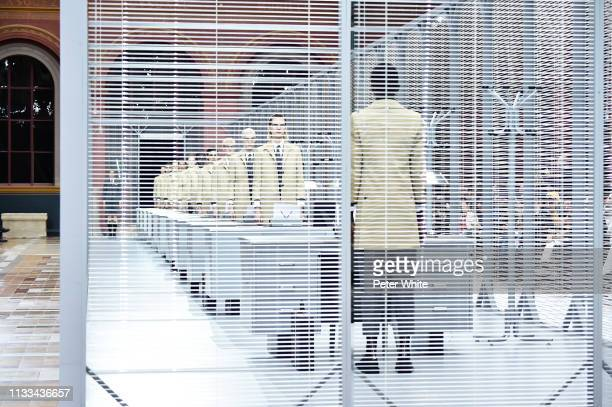 Models walk the runway during the Thom Browne show as part of the Paris Fashion Week Womenswear Fall/Winter 2019/2020 on March 03 2019 in Paris France