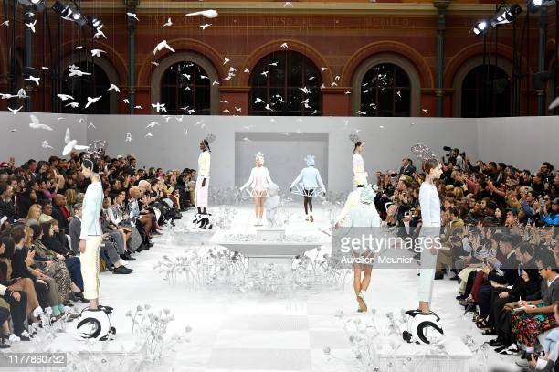 Models walk the runway during the Thom Browne Womenswear Spring/Summer 2020 show as part of Paris Fashion Week on September 29, 2019 in Paris, France.