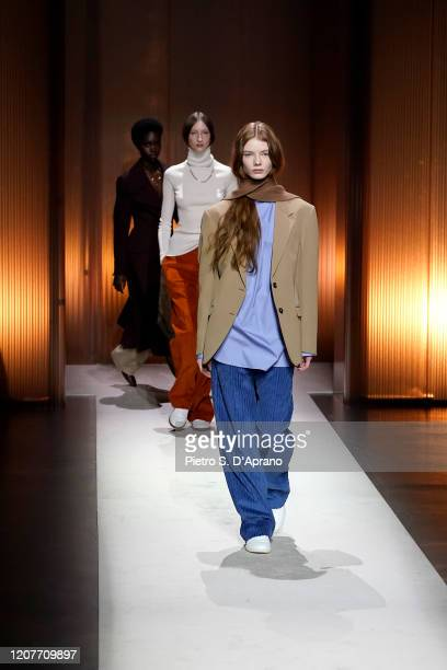 Models walk the runway during the Tod's fashion show as part of Milan Fashion Week Fall/Winter 2020-2021 on February 21, 2020 in Milan, Italy.