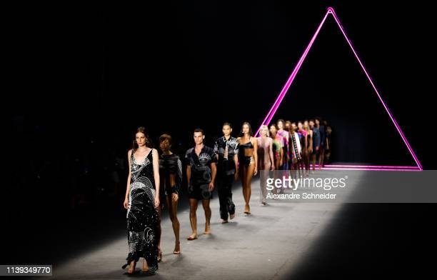 Models walk the runway during the Triya fashion show during Sao Paulo Fashion Week N47 Summer 2020 at Arca on April 25 2019 in Sao Paulo Brazil