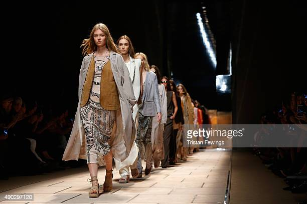 Models walk the runway during the Trussardi fashion show as part of Milan Fashion Week Spring/Summer 2016 on September 27 2015 in Milan Italy