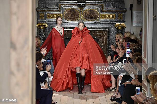 Models walk the runway during the Valentino Haute Couture Fall/Winter 20162017 show as part of Paris Fashion Week on July 6 2016 in Paris France