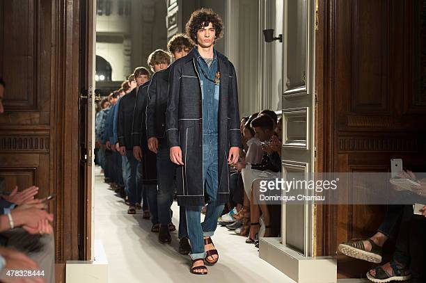 Models walk the runway during the Valentino Menswear Spring/Summer 2016 show as part of Paris Fashion Week on June 24 2015 in Paris France