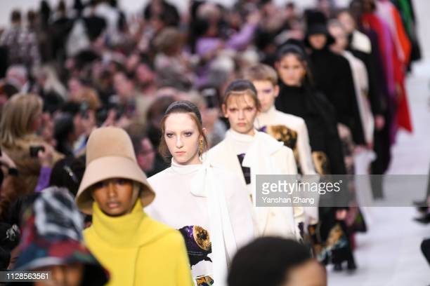 Models walk the runway during the Valentino show as part of the Paris Fashion Week Womenswear Fall/Winter 2019/2020 on March 3 2019 in Paris France