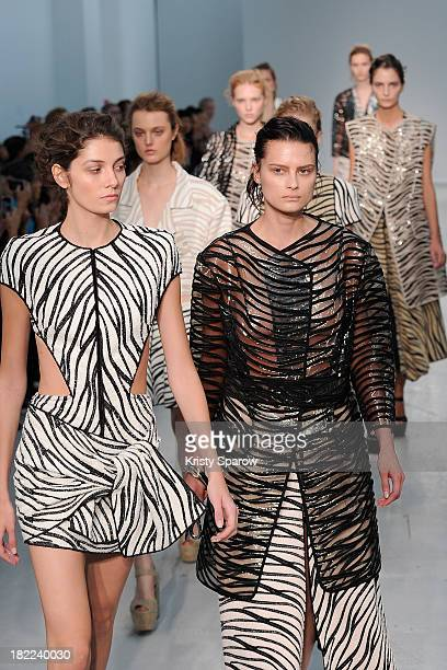 Models walk the runway during the Veronique Leroy show as part of Paris Fashion Week Womenswear Spring/Summer 2014 on September 28, 2013 in Paris,...