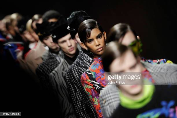 Models walk the runway during the Versace fashion show as part of Milan Fashion Week Fall/Winter 2020-2021 on February 21, 2020 in Milan, Italy.