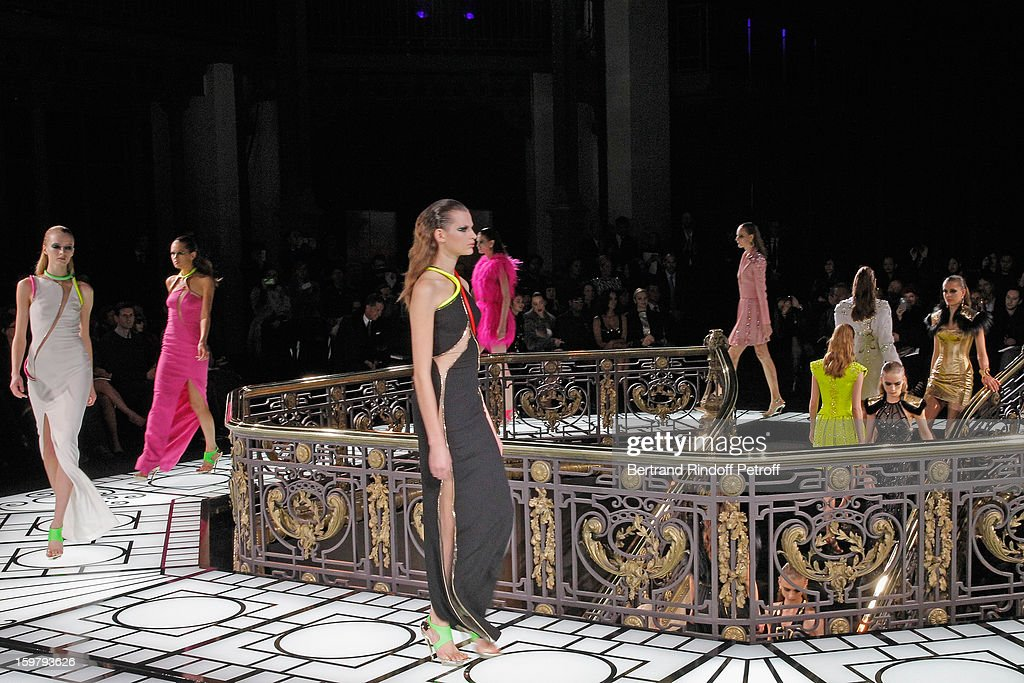 Models walk the runway during the Versace Spring/Summer 2013 Haute-Couture show as part of Paris Fashion Week at Le Centorial on January 20, 2013 in Paris, France.