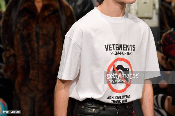 Models walk the runway during the Vetements Menswear Fall/Winter 2020-2021 show as part of Paris Fashion Week on January 17, 2020 in Paris, France.