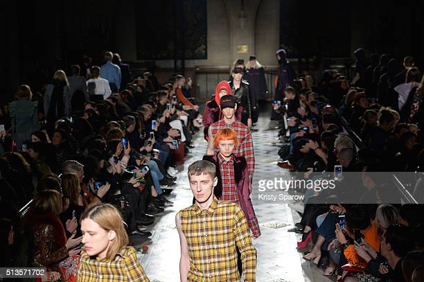 Models walk the runway during the Vetements show as part of Paris Fashion Week Womenswear Fall/Winter 2016/2017 on March 3 2016 in Paris France