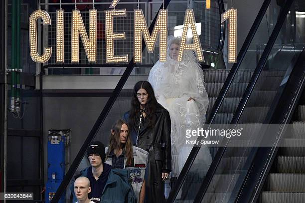Models walk the runway during the Vetements Spring Summer 2017 show as part of Paris Fashion Week on January 24 2017 in Paris France