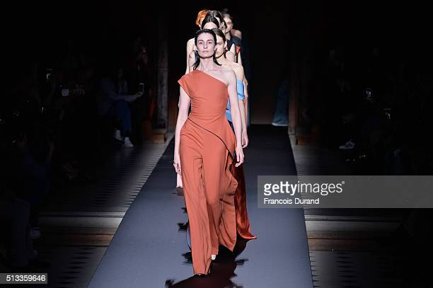 Models walk the runway during the Vionnet show as part of the Paris Fashion Week Womenswear Fall/Winter 2016/2017 on March 2, 2016 in Paris, France.