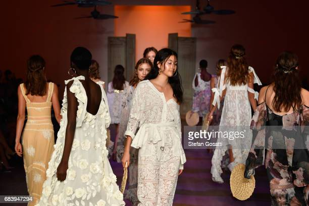 Models walk the runway during the We Are Kindred show at MercedesBenz Fashion Week Resort 18 Collections at Carriageworks on May 17 2017 in Sydney...