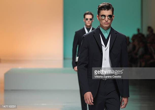 Models walk the runway during the Z Zegna show as part of Milan Fashion Week Menswear Spring/Summer 2013 on June 25, 2012 in Milan, Italy.