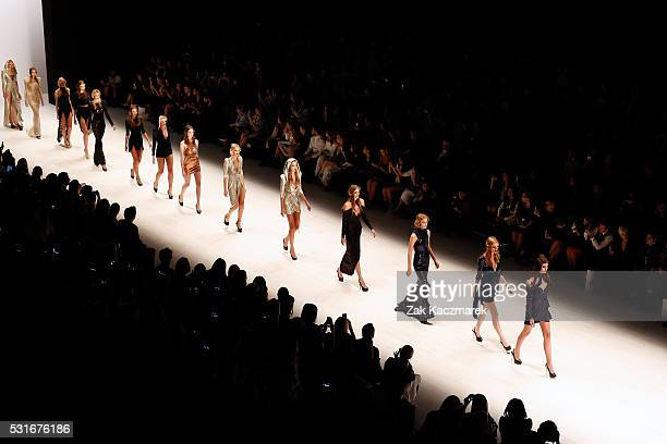 Models walk the runway during the Zhivago show at MercedesBenz Fashion Week Resort 17 Collections at Carriageworks on May 16 2016 in Sydney Australia