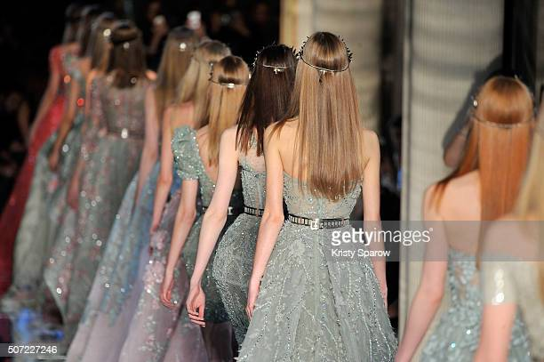 Models walk the runway during the Zuhair Murad Haute Couture Spring Summer 2016 show as part of Paris Fashion Week on January 27 2016 in Paris France