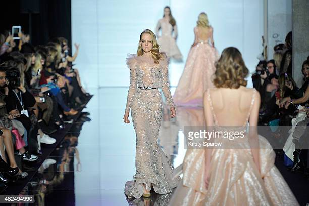 Models walk the runway during the Zuhair Murad show as part of Paris Fashion Week Haute Couture Spring/Summer 2015 at Palais de Tokyo on January 29...