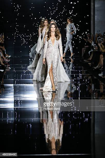 Models walk the runway during the Zuhair Murad show as part of Paris Fashion Week Haute Couture Fall/Winter 2015/2016 on July 9, 2015 in Paris,...