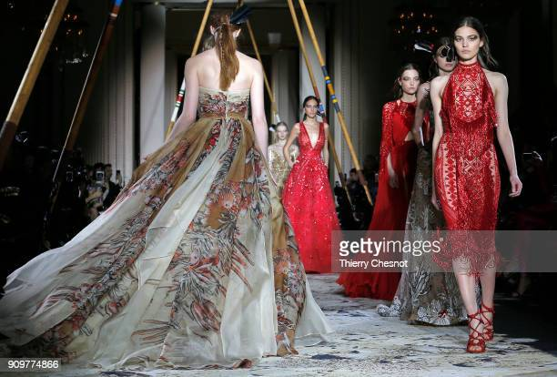Models walk the runway during the Zuhair Murad Spring Summer 2018 show as part of Paris Fashion Week on January 24 2018 in Paris France