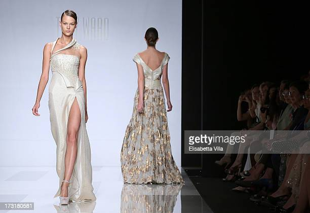 Models walk the runway during Tony Ward F/W 20132014 Haute Couture collection fashion show as part of AltaRoma AltaModa Fashion Week at Santo Spirito...