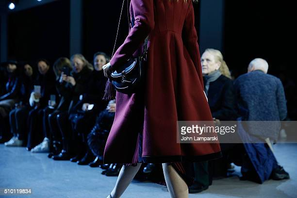 Models walk the runway fashion and bag detail during the Altuzarra show during the Fall 2016 New York Fashion Week on February 13 2016 in New York...