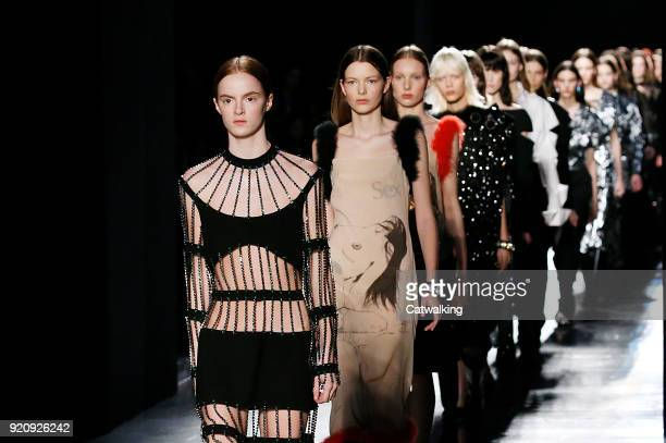 Models walk the runway finale at the Christopher Kane Autumn Winter 2018 fashion show during London Fashion Week on February 19 2018 in London United...