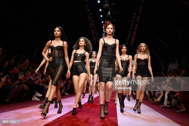 Models walk the runway finale at the Dolce & Gabbana Spring Summer 2018 fashion show during Milan Fashion Week on September 24, 2017 in Milan, Italy.