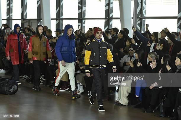 Models walk the runway finale at the Junya Watanabe Man Autumn Winter 2017 fashion show during Paris Menswear Fashion Week on January 20 2017 in...