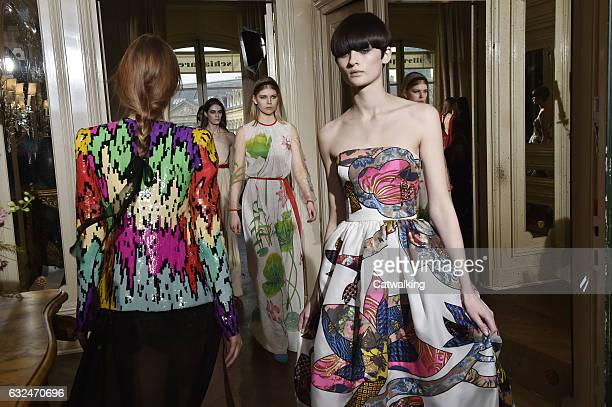 Models walk the runway finale at the Schiaparelli Spring Summer 2017 fashion show during Paris Haute Couture Fashion Week on January 23 2017 in Paris...