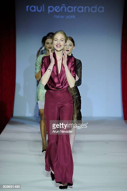 Models walk the runway finale in the Raul Penaranda fashion show at Gotham Hall on February 11 2016 in New York City