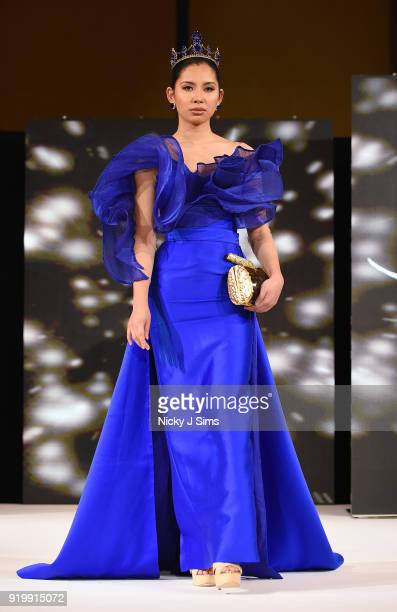 Models walk the runway for Aandrei David at the House of iKons show during London Fashion Week February 2018 at Millenium Gloucester London Hotel on...