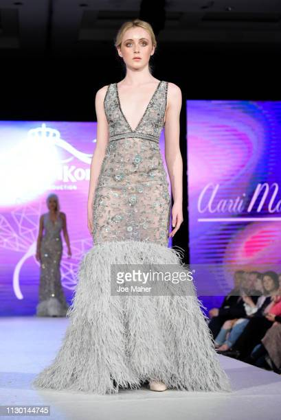 Models walk the runway for Aarti Mahtani at the House of iKons show during London Fashion Week February 2019 at the Millennium Gloucester London...