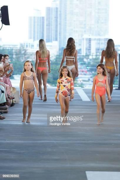 Models walk the runway for Acacia Resort 2019 during Paraiso Fashion Fair at 1111 Lincoln Road on July 14 2018 in Miami Florida
