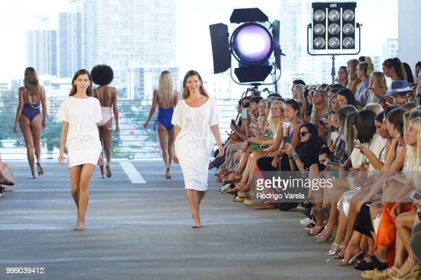 Models walk the runway for Acacia Resort 2019 during Paraiso Fashion Fair at 1111 Lincoln Road on July 14 2018 in Miami Florida
