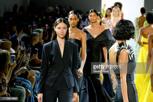 Models walk the runway for Aliette during New York Fashion Week: The Shows at Gallery II at Spring Studios on September 11, 2019 in New York City.