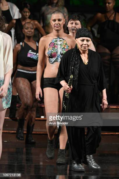 Models walk the runway for ANA ONO INTIMATES X PROJECT CANCERLAND At New York Fashion Week Powered By Art Hearts Fashion NYFW at The Angel Orensanz...