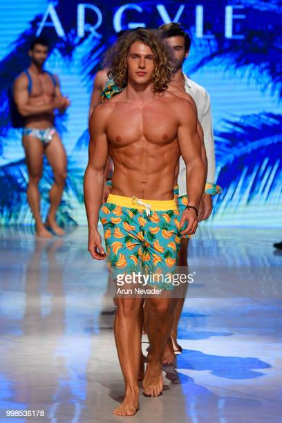 Models walk the runway for Argyle Grant at Miami Swim Week powered by Art Hearts Fashion Swim/Resort 2018/19 at Faena Forum on July 13 2018 in Miami...