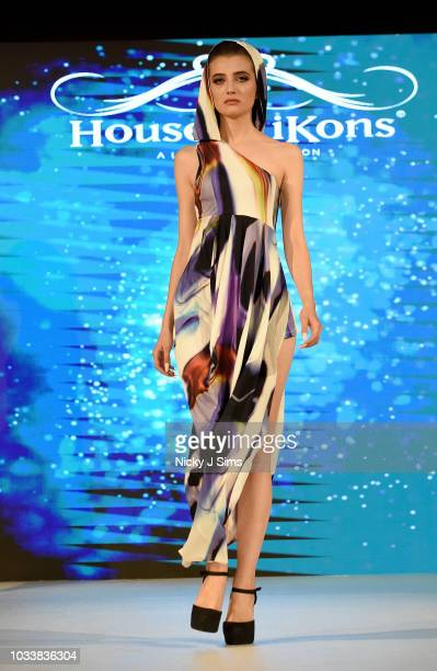 Models walk the runway for Balazs Ester on day 1 of the House of iKons show during London Fashion Week September 2018 at the Millennium Gloucester...
