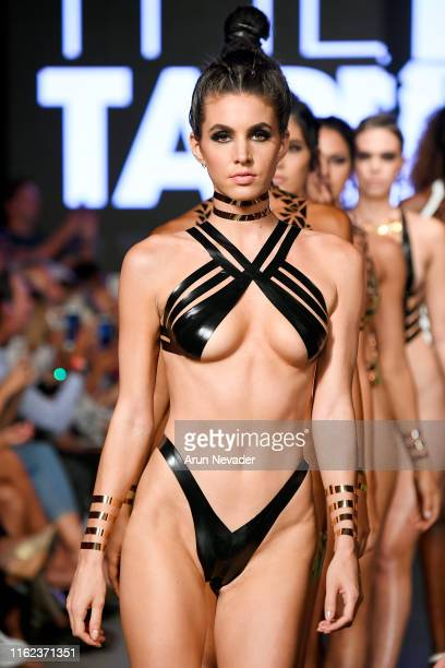 Models walk the runway for BLACK TAPE PROJECT At Miami Swim Week Powered By Art Hearts Fashion Swim/Resort 2019/20 at Faena Forum on July 15 2019 in...