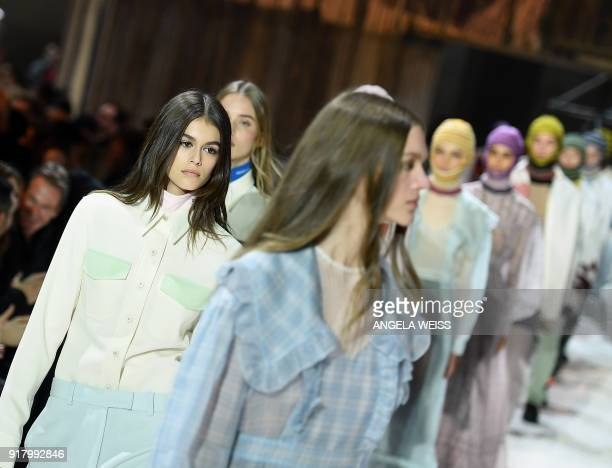 Models walk the runway for Calvin Klein 205W39NYC during New York Fashion Week at the American Stock Exchange Building on February 13 2018 in New...