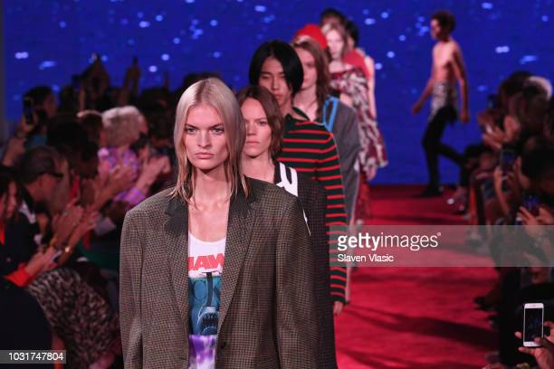 Models walk the runway for Calvin Klein Collection during New York Fashion Week at New York Stock Exchange on September 11 2018 in New York City