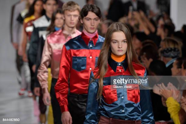 Models walk the runway for Calvin Klein Collection fashion show during New York Fashion Week on September 7 2017 in New York City