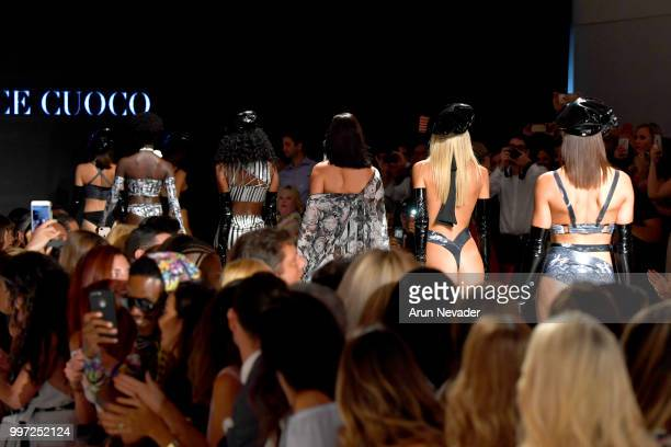Models walk the runway for Candice Cuoco at Miami Swim Week powered by Art Hearts Fashion Swim/Resort 2018/19 at Faena Forum on July 12 2018 in Miami...