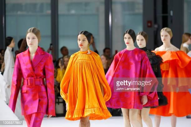 Models walk the runway for Carolina Herrera during New York Fashion Week on February 10, 2020 in New York City.