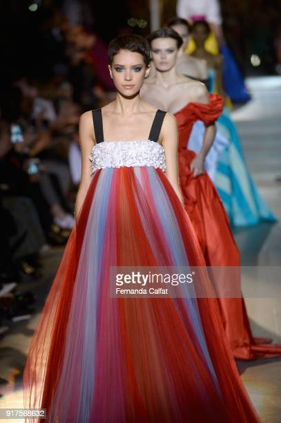Models walk the runway for Carolina Herrera during New York Fashion Week The Shows at The Museum of Modern Art on February 12 2018 in New York City
