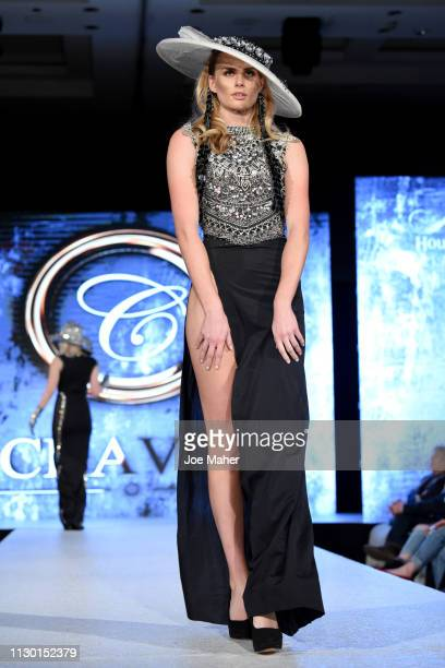 Models walk the runway for Chavez at the House of iKons show during London Fashion Week February 2019 at the Millennium Gloucester London Hotel on...