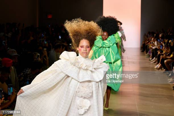 Models walk the runway for Christopher John Rogers during New York Fashion Week The Shows at Gallery II at Spring Studios on September 07 2019 in New...