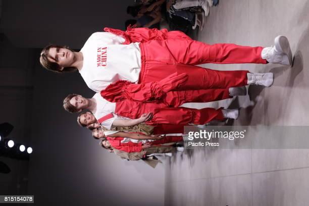 Models walk the runway for Feng Chen Wang Spring/Summer 2018 Runway Show at Skylight Clarckson Square NYC