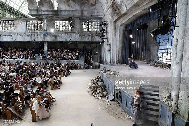 Models walk the runway for Final during Chanel show as part of Paris Fashion Week HauteCouture Fall/Winter 20132014 at Grand Palais on July 2 2013 in...