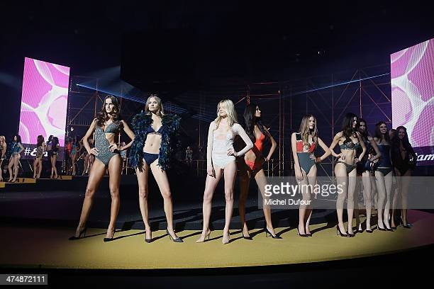 Models walk the runway for Final during the ETAM show as part of the Paris Fashion Week Womenswear Fall/Winter 20142015>> on February 25 2014 in...